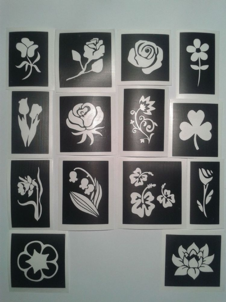 Flower Themed Stencils For Etching On To Glass Daisy Tulip